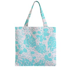 Floral Wallpaper Aqua Zipper Grocery Tote Bags