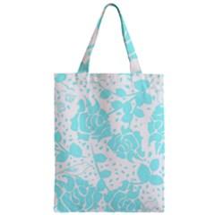Floral Wallpaper Aqua Zipper Classic Tote Bags