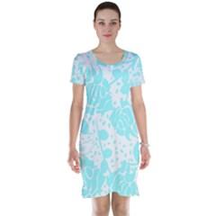 Floral Wallpaper Aqua Short Sleeve Nightdresses