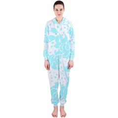 Floral Wallpaper Aqua Hooded Jumpsuit (Ladies)