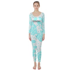 Floral Wallpaper Aqua Long Sleeve Catsuit
