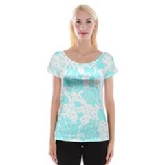 Floral Wallpaper Aqua Women s Cap Sleeve Top