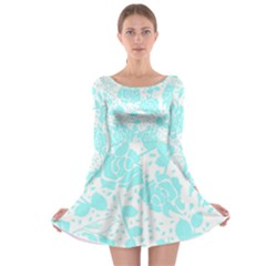 Floral Wallpaper Aqua Long Sleeve Skater Dress