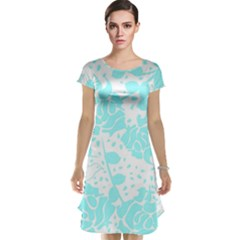 Floral Wallpaper Aqua Cap Sleeve Nightdresses