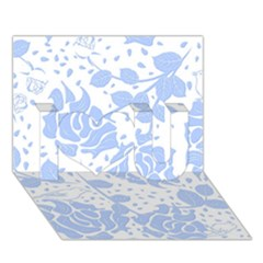 Floral Wallpaper Blue I Love You 3d Greeting Card (7x5)