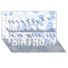 Floral Wallpaper Blue Happy Birthday 3D Greeting Card (8x4)