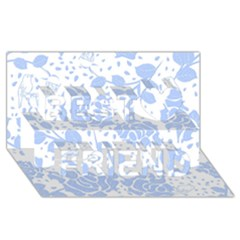 Floral Wallpaper Blue Best Friends 3d Greeting Card (8x4)