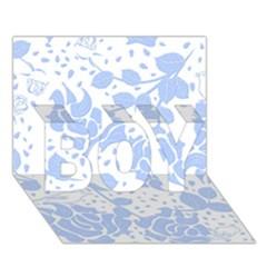 Floral Wallpaper Blue Boy 3d Greeting Card (7x5)