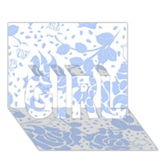 Floral Wallpaper Blue Girl 3d Greeting Card (7x5)