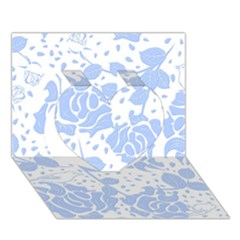 Floral Wallpaper Blue Heart 3d Greeting Card (7x5)