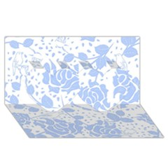 Floral Wallpaper Blue Twin Hearts 3d Greeting Card (8x4)