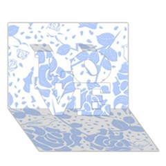 Floral Wallpaper Blue LOVE 3D Greeting Card (7x5)