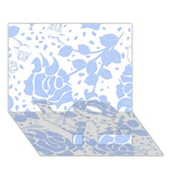 Floral Wallpaper Blue LOVE Bottom 3D Greeting Card (7x5)