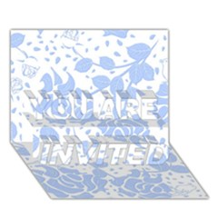 Floral Wallpaper Blue YOU ARE INVITED 3D Greeting Card (7x5)