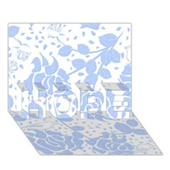 Floral Wallpaper Blue Hope 3d Greeting Card (7x5)