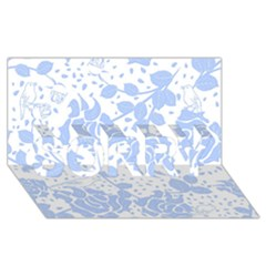 Floral Wallpaper Blue SORRY 3D Greeting Card (8x4)