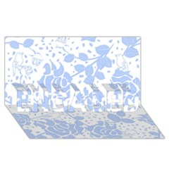 Floral Wallpaper Blue ENGAGED 3D Greeting Card (8x4)
