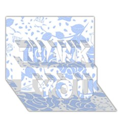 Floral Wallpaper Blue THANK YOU 3D Greeting Card (7x5)