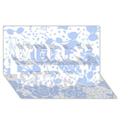 Floral Wallpaper Blue Merry Xmas 3D Greeting Card (8x4)
