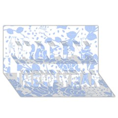 Floral Wallpaper Blue Happy New Year 3D Greeting Card (8x4)