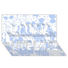 Floral Wallpaper Blue Laugh Live Love 3D Greeting Card (8x4)