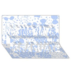 Floral Wallpaper Blue Congrats Graduate 3D Greeting Card (8x4)
