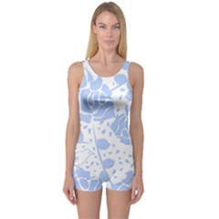 Floral Wallpaper Blue Women s Boyleg One Piece Swimsuits