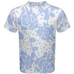 Floral Wallpaper Blue Men s Cotton Tees