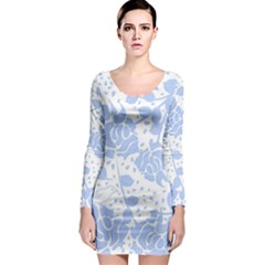 Floral Wallpaper Blue Long Sleeve Bodycon Dresses