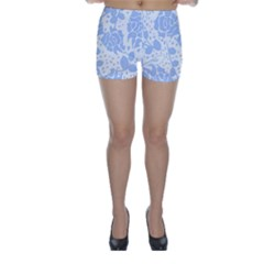 Floral Wallpaper Blue Skinny Shorts