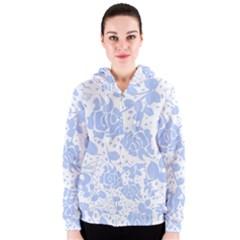 Floral Wallpaper Blue Women s Zipper Hoodies