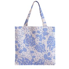 Floral Wallpaper Blue Zipper Grocery Tote Bags