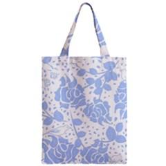 Floral Wallpaper Blue Zipper Classic Tote Bags