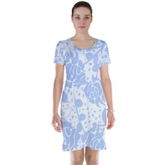 Floral Wallpaper Blue Short Sleeve Nightdresses