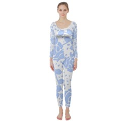 Floral Wallpaper Blue Long Sleeve Catsuit
