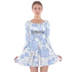 Floral Wallpaper Blue Long Sleeve Skater Dress