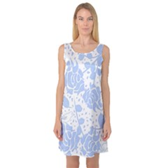 Floral Wallpaper Blue Sleeveless Satin Nightdresses