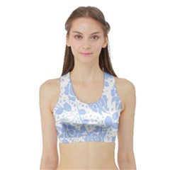 Floral Wallpaper Blue Women s Sports Bra with Border