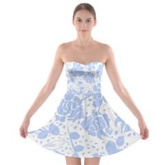 Floral Wallpaper Blue Strapless Bra Top Dress