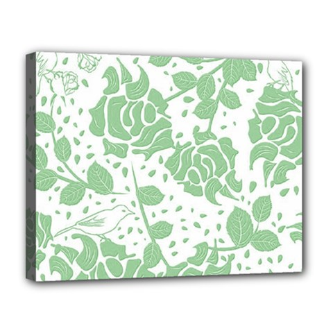 Floral Wallpaper Green Canvas 14  X 11