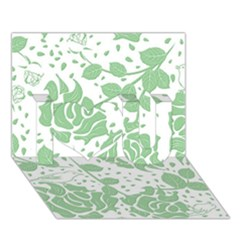 Floral Wallpaper Green I Love You 3d Greeting Card (7x5)