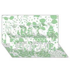 Floral Wallpaper Green Best Friends 3D Greeting Card (8x4)