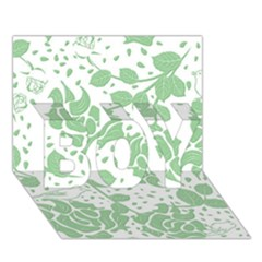 Floral Wallpaper Green BOY 3D Greeting Card (7x5)