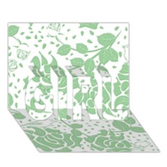 Floral Wallpaper Green GIRL 3D Greeting Card (7x5)