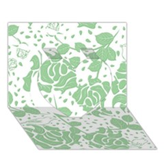 Floral Wallpaper Green Heart 3D Greeting Card (7x5)