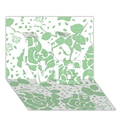 Floral Wallpaper Green Love 3d Greeting Card (7x5)