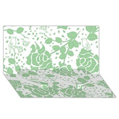 Floral Wallpaper Green Twin Heart Bottom 3D Greeting Card (8x4)