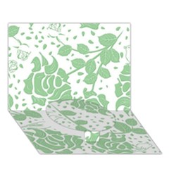 Floral Wallpaper Green Circle Bottom 3D Greeting Card (7x5)