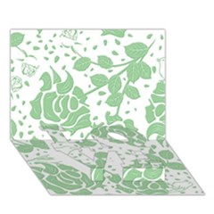 Floral Wallpaper Green LOVE Bottom 3D Greeting Card (7x5)
