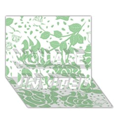 Floral Wallpaper Green You Are Invited 3d Greeting Card (7x5)